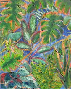 Jungle Leaves, Painting, Oil on Canvas