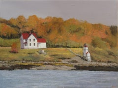 Squirrel Point Lighthouse, Painting, Oil on Canvas