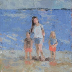 Wading at East End Beach, Painting, Oil on Canvas