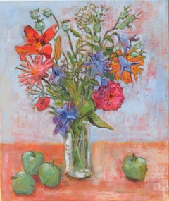 Zinnias Plus, Painting, Oil on Canvas