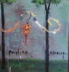 "Stephanie Brody-Lederman ""Familiar Stories"" lantern mixed media painting w words"