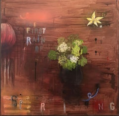 "Stephanie Brody-Lederman ""First Rain of Spring"" contemporary mixed media flowers"