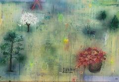 "STEPHANIE BRODY LEDERMAN ""Lazy Sunday"", 2020, horizontal abstract flowers & text"