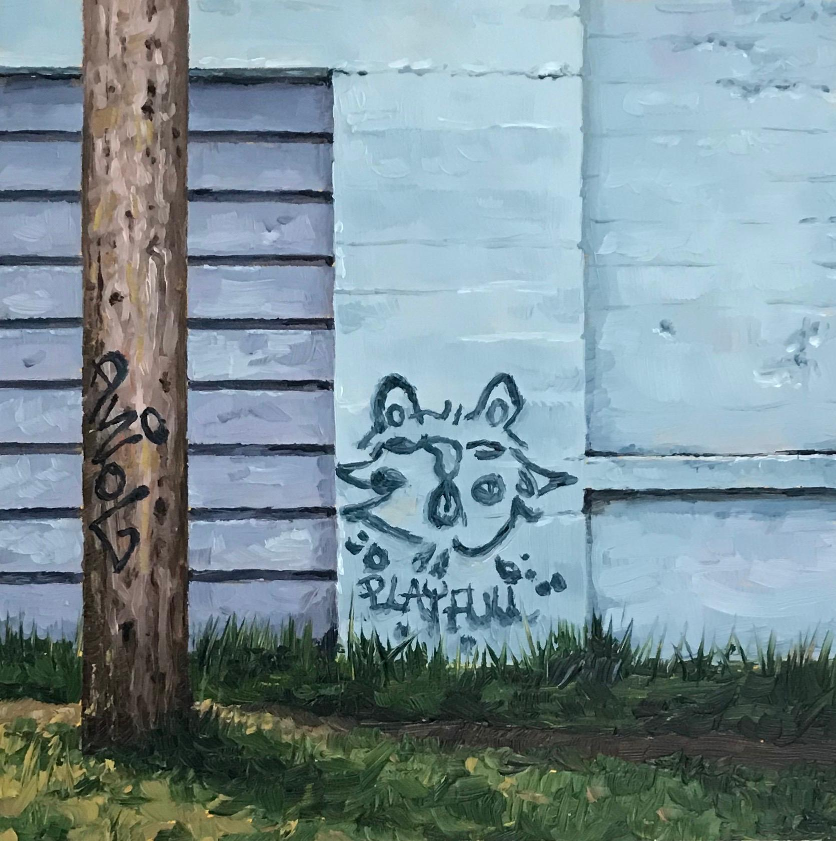 """Blue Cat,"" Oil painting"