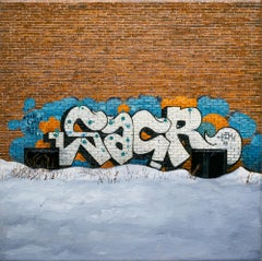 """""""SACR"""", Oil Painting, Cityscape, Graffiti, Building, Realism"""