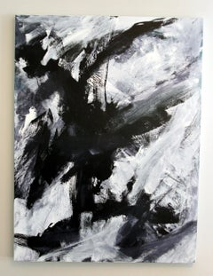 Europa 19, Black and White Abstract Art, Acrylic painting on Wood Panel