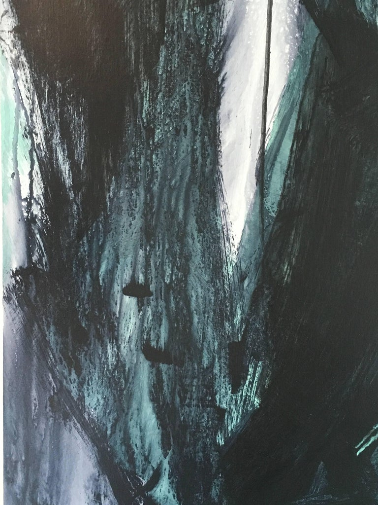 Europa 22 by Los Angeles artist Stephanie Cate is Acrylic on Wood Panel.  It is 48x36.  The black, white and green abstraction explores the Moon Europa, a planet with fire, ice and a potential for life.  It can be installed individually or as a