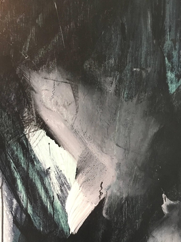 Europa 22, Abstract, Painting, Black, White, Green For Sale 2