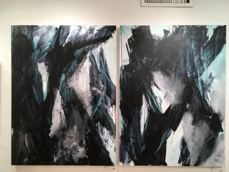 Europa 22, Abstract, Painting, Black, White, Green For Sale 3