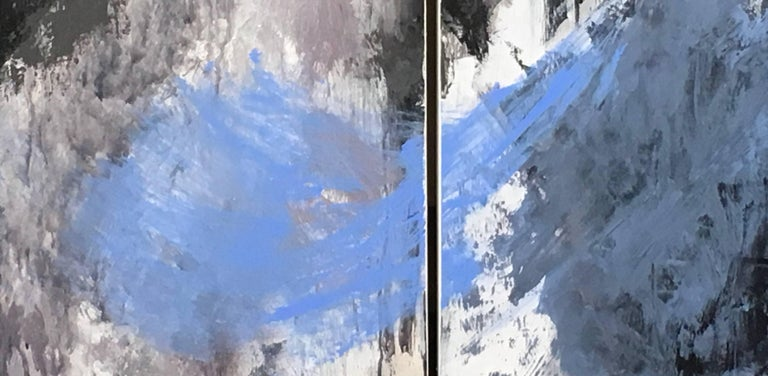 Europa 24 & 25 is an abstract diptych, acrylic on wood panel, by California artist, Stephanie Cate.  It is 52x54.  The painting is based on the moon Europa, a planet with fire, ice and potential for life.   Stephanie Cate is an abstract painter