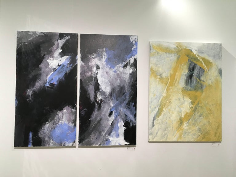 Europa 24 & 25 Diptych - Black Abstract Painting by Stephanie Cate