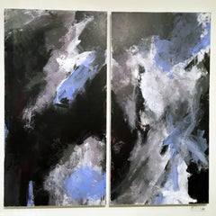 Europa 24 & 25 Diptych, abstract art, acrylic on wood panel, blue, white, gray
