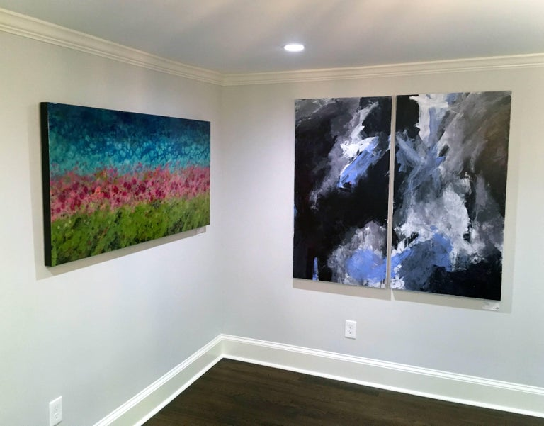 Europa 24 & 25 Diptych, abstract art, acrylic on wood panel, blue, white, gray - Painting by Stephanie Cate