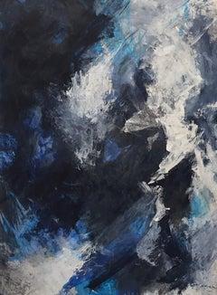 Europa 27, abstract art, acrylic on wood panel, blue, white