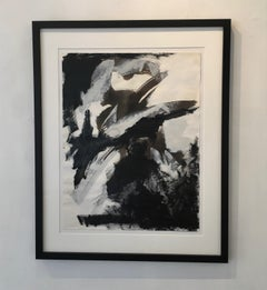 Europa 30 Study, Black & White Abstract Work on Paper, Framed