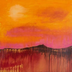 Heatwave, Acrylic, Abstract Landscape, Pink, Yellow, Orange, Sun, painting, art