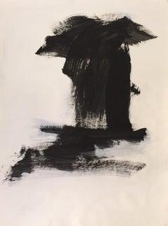 Pagoda V, Black & White, Work on Paper, Framed