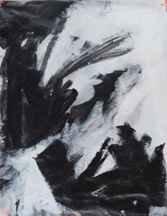 Saturn 23 Study, Black & White Abstract Work on Paper, Framed