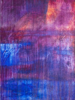 Twilight, Acrylic, Abstract, Blue, Pink, Landscape, painting, colorful