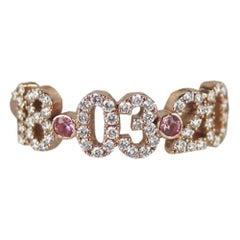 Stephanie Gottlieb + Noush Jewelry 14K Rose Gold Pave Diamond Date Ring