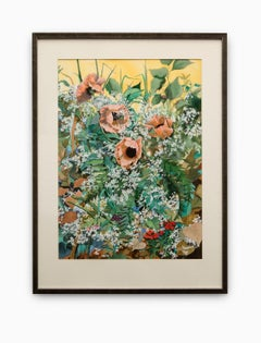 Untitled Floral Garden Watercolor with Poppies, Baby's Breath and Euphorbia