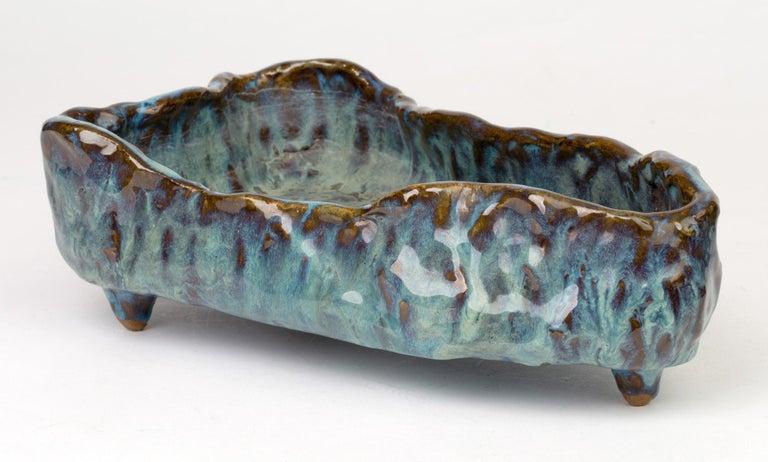 English Stephanie Kalan Studio Pottery Sculptural Glazed Bowl For Sale