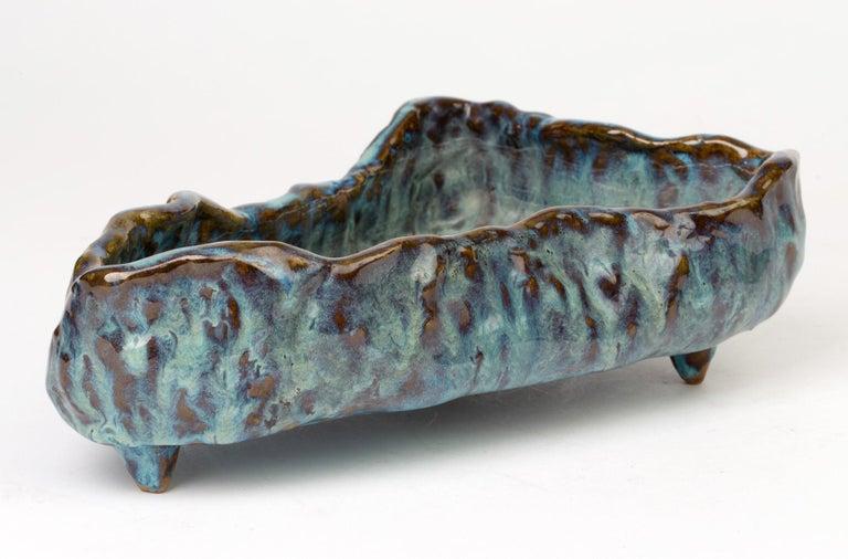 20th Century Stephanie Kalan Studio Pottery Sculptural Glazed Bowl For Sale