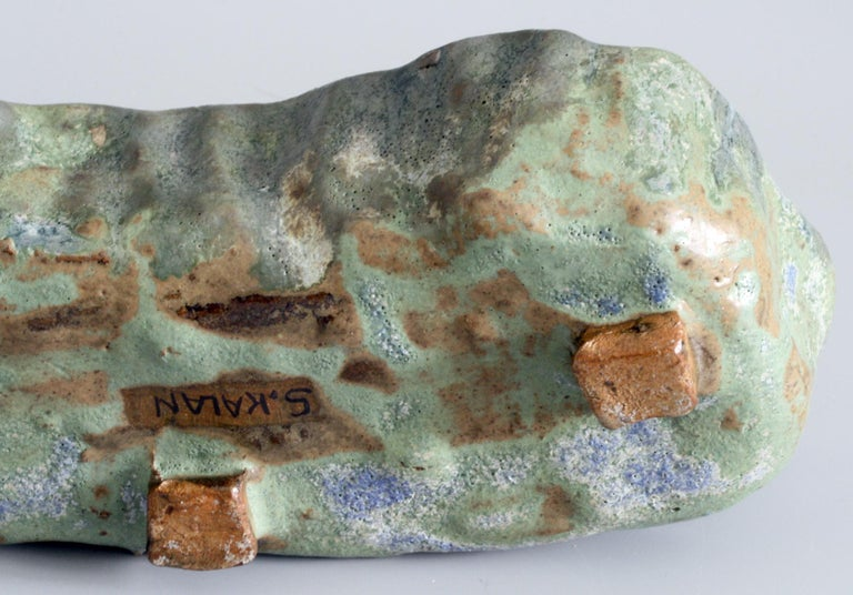 Mid-Century Modern Stephanie Kalan Studio Pottery Hand Formed Brutalist Sculptural Bowl For Sale
