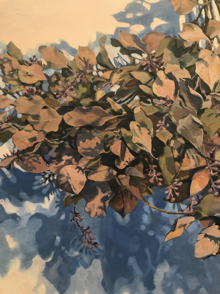 Dawnlight / eucalyptus leaves - A natural abstraction through applied realism - Painting by Stephanie Peek
