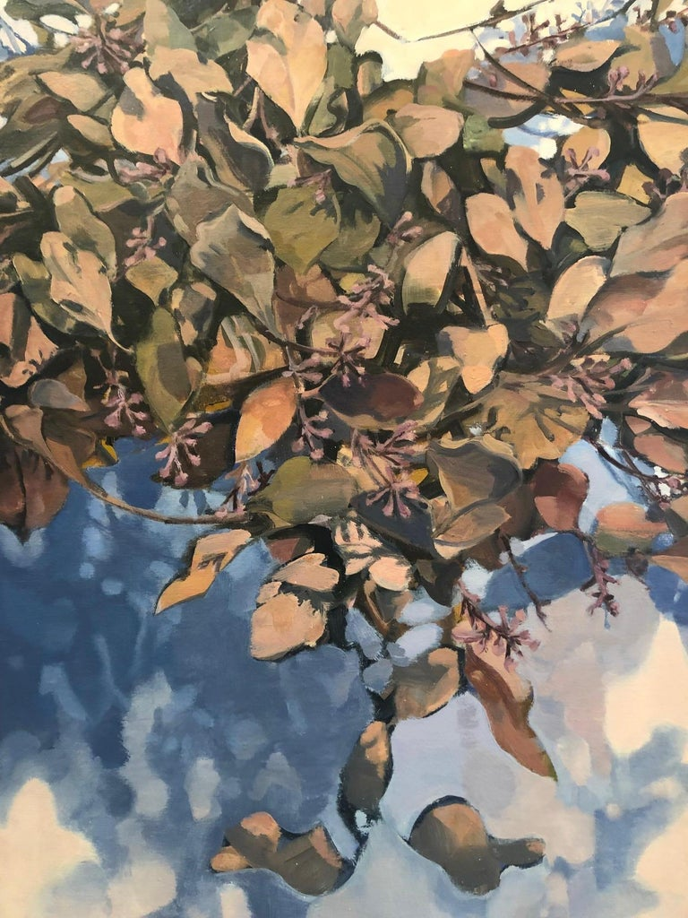 Dawnlight / eucalyptus leaves - A natural abstraction through applied realism - Contemporary Painting by Stephanie Peek