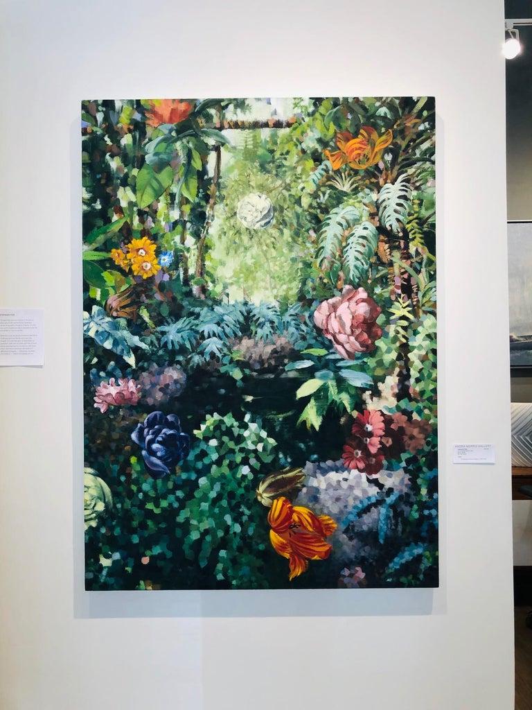 La Grande Serre /  oil on canvas - contemporary lush Parisian garden scene  For Sale 1