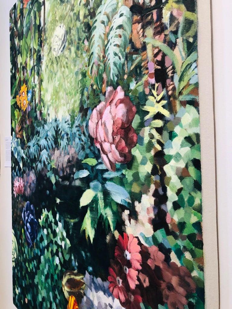 La Grande Serre /  oil on canvas - contemporary lush Parisian garden scene  For Sale 2