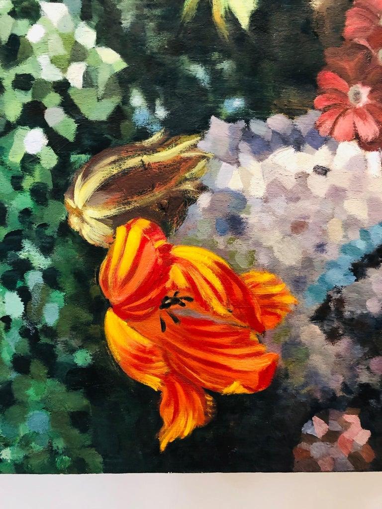 La Grande Serre /  oil on canvas - contemporary lush Parisian garden scene  For Sale 3
