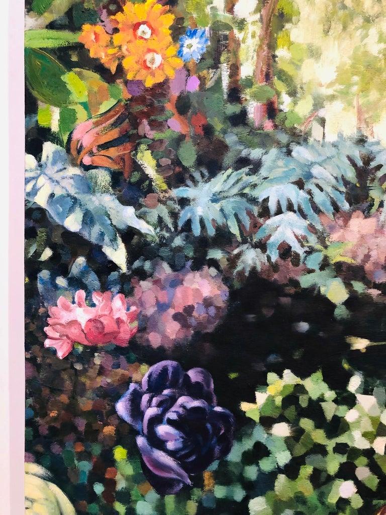 La Grande Serre /  oil on canvas - contemporary lush Parisian garden scene  For Sale 4