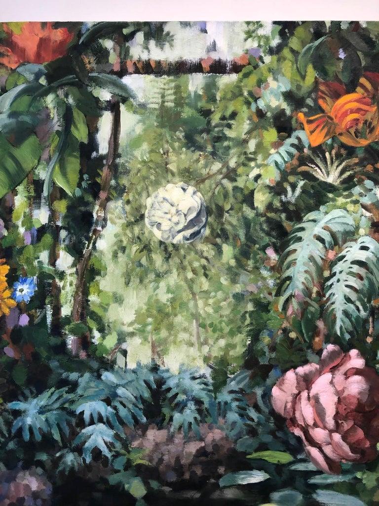 La Grande Serre /  oil on canvas - contemporary lush Parisian garden scene  For Sale 5