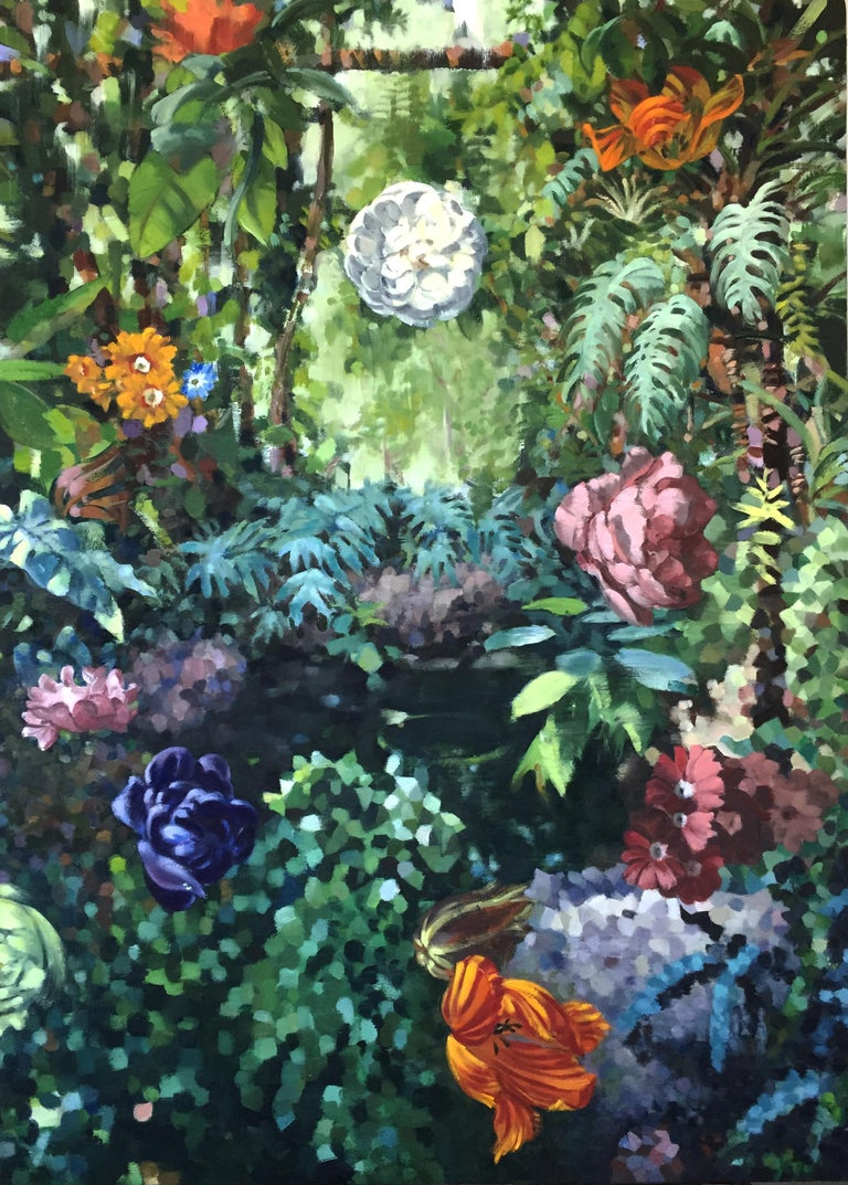 Contemporary and mysterious oil painting inspired by 'La Grande Serre' gardens in Paris, France, at dusk. The lush work in mainly forrest greens with floating flowers and splashes of viivid color throughout is a wonderfully complex painting with a