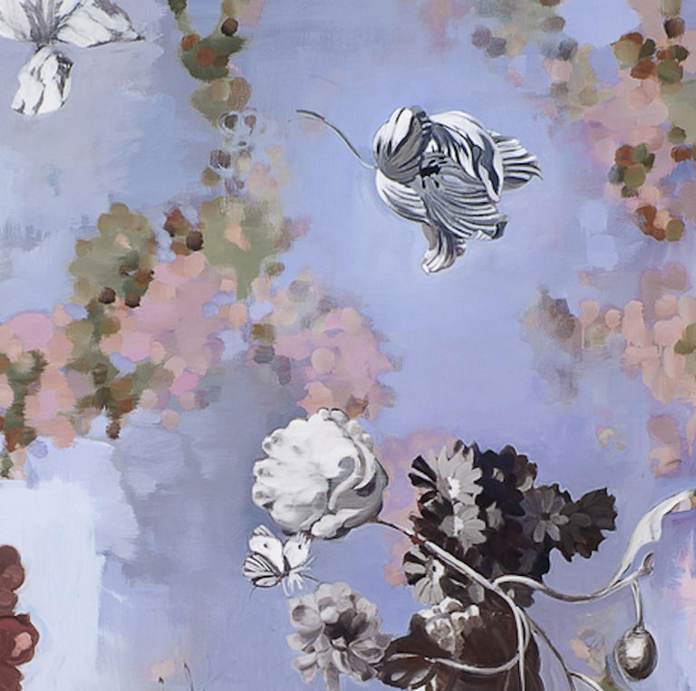 Til Paradise II - falling  flowers 72 x 72 inches 2