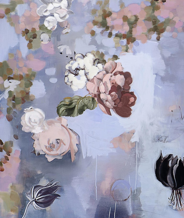 Til Paradise II - falling  flowers 72 x 72 inches 3