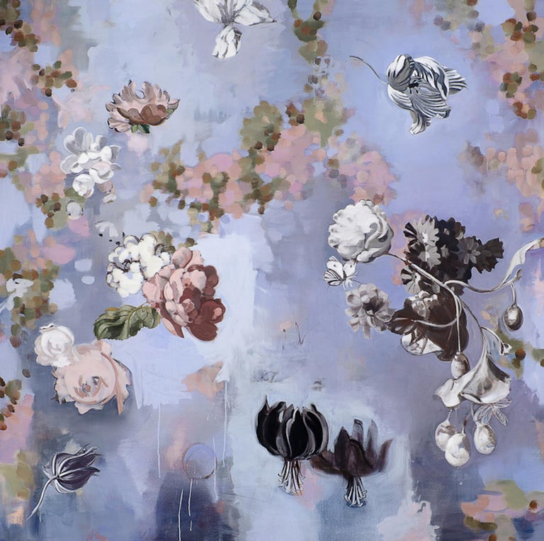Til Paradise II - falling  flowers 72 x 72 inches 1