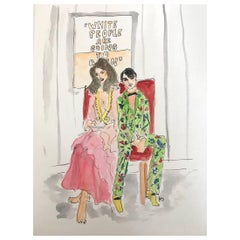 """Stephanie Seymour and Harry Brant"" Watercolor on Archival Paper, 2017"