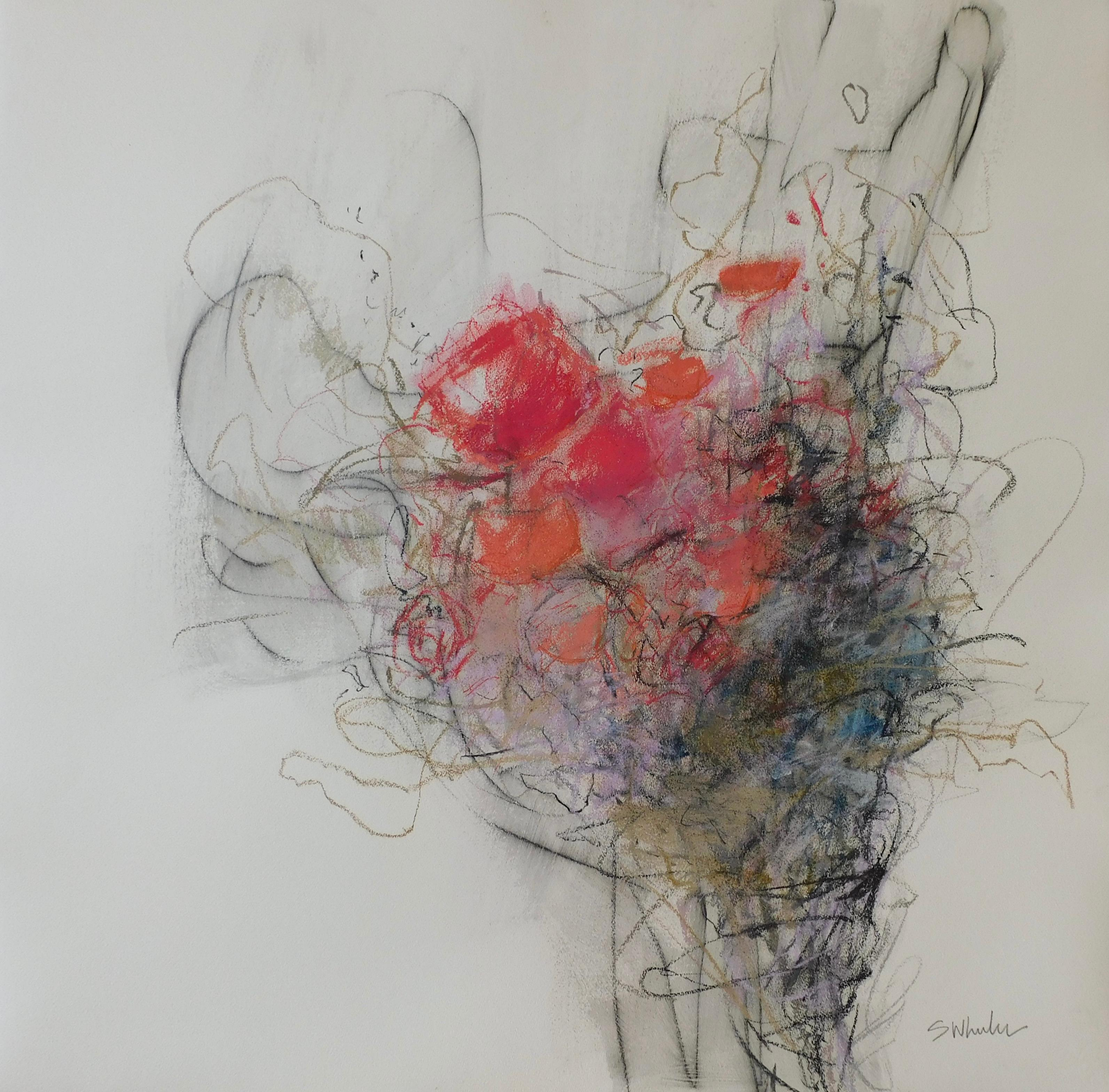 Abstract Floral Mixed Media by S. Wheeler