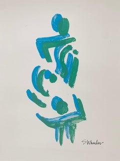 Blue and Green Dancing Ladies   Silk screen print by S. Wheeler