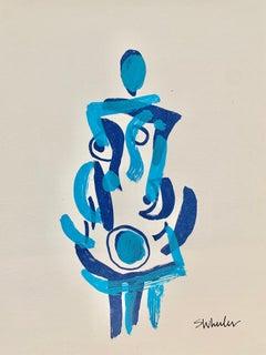 Blue Dress    Silk screen print by Stephanie Wheeler