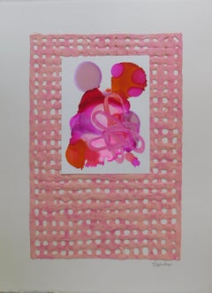 """""""Pink Adorn II"""". Mixed media collage by S. Wheeler"""