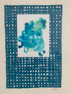 Turquoise Adorn IV. Mixed Media Colllage by S. Wheeler
