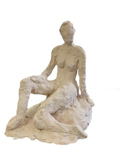 Sitting Woman Clay Sculpture
