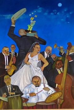 A Bronx Wedding, colorful dancing celebration w musicians blue sky butterflies