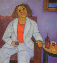 Bordeaux Evenings  wine theme seated female figure warm evening thoughts