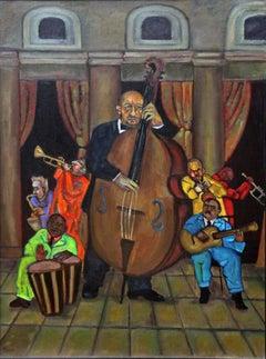 El Bajo  Latin music theme rich vibrant colors musical instruments strong rhythm