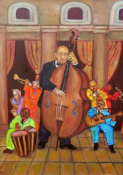 El Bajo (The Bass Player), quirky colorful musicians instruments